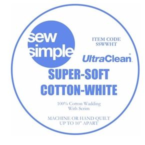Sew Simple UltraClean Super-Soft 100% Cotton WHITE Wadding with Scrim